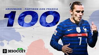 Griezmann alcanzó los 100 partidos con Francia. BeSoccer Pro