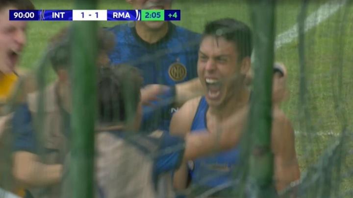 El Inter empató en el añadido. Captura/UEFATV