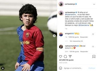Aleñá se despidió del Barcelona. Captura/Instagram/carlesalenya