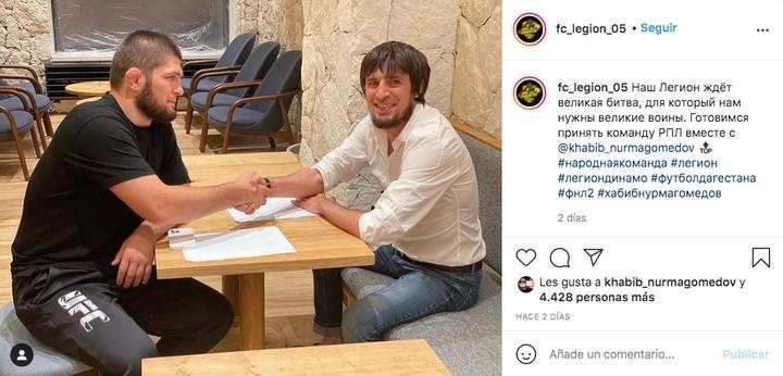 Khabib podría debutar como futbolista. Captura/Instagram/fc_legion_05