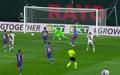 Radamel Falcao put Rayo 1-0 up against Barcelona. Screenshot/MovistarLaLiga