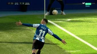 Raul de Tomas celebrated his goal against his old club. Screenshot/MovistarLaLiga