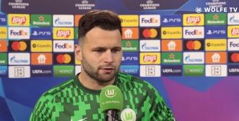 Renatto Steffen, Wolfsburg goalscorer, not impressed by the referees. Screenshot/Wolfsburg
