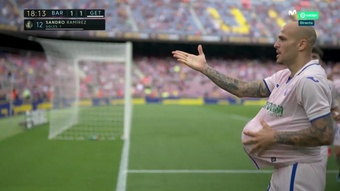 Sandro empató el Barcelona-Getafe en el Camp Nou. Captura/MovistarLaLiga