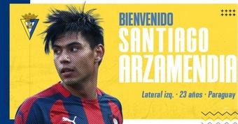Santiago Arzamendia, nuevo jugador del Cádiz. Twitter/Cadiz_CF