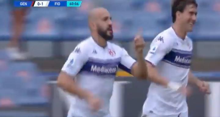 Saponara marcó el primer gol. Captura/DAZN