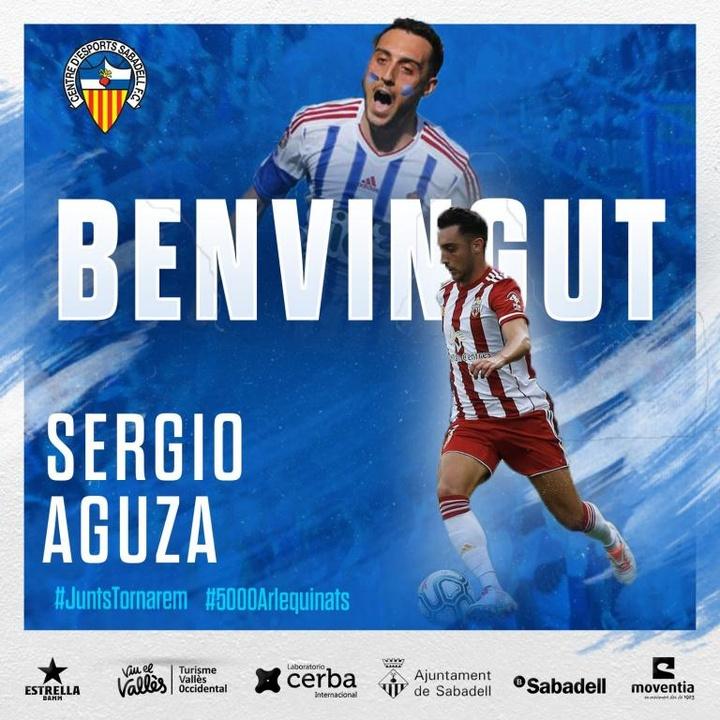 El Sabadell ficha a Sergio Aguza. Twitter/CESabadell
