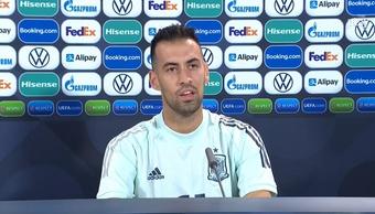 Sergio Busquets, en la rueda de prensa previa a la semifinal de la Liga de las Naciones. EFE