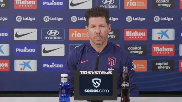 Simeone falou sobre Griezmann e João Félix. Captura/ClubAtléticodeMadrid