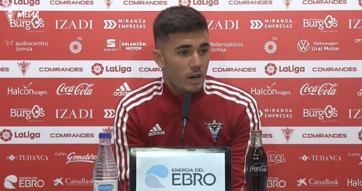 Simón Moreno analizó el derbi ante el Burgos. Captura/CDMirandes