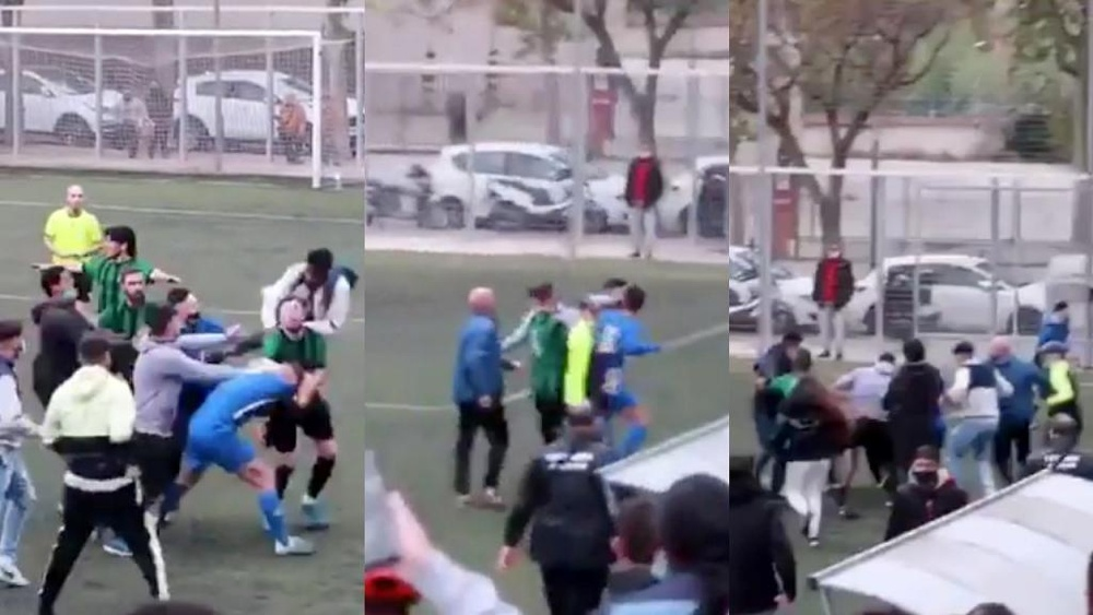 Hubo una tangana en Tercera Catalana. Capturas/Twitter/CatalunyaFtbl