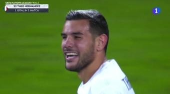 Teo Hernández puso el 2-3 para Francia. Captura/TVE
