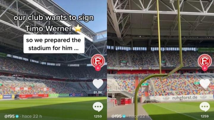 El Fortuna Düsseldorf troleó a Timo Werner. Captura/f95