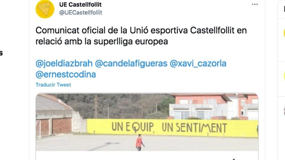 La UE Castellfollit se apuntaría a la Superliga. Captura/Twitter/UECastellfollit