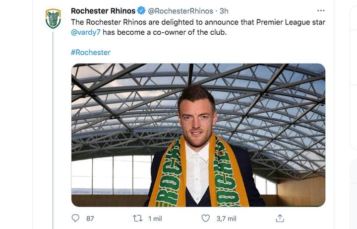 Jamie Vardy, copropietario de Rochester Rhinos. Captura/Twitter/RochesterRhinos