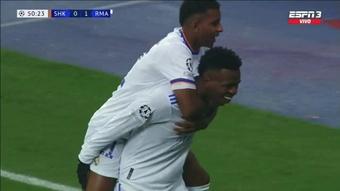 Dois golaços de Vinicius para trazer tranquilidade ao Real. Captura/MovistarLigadeCampeones