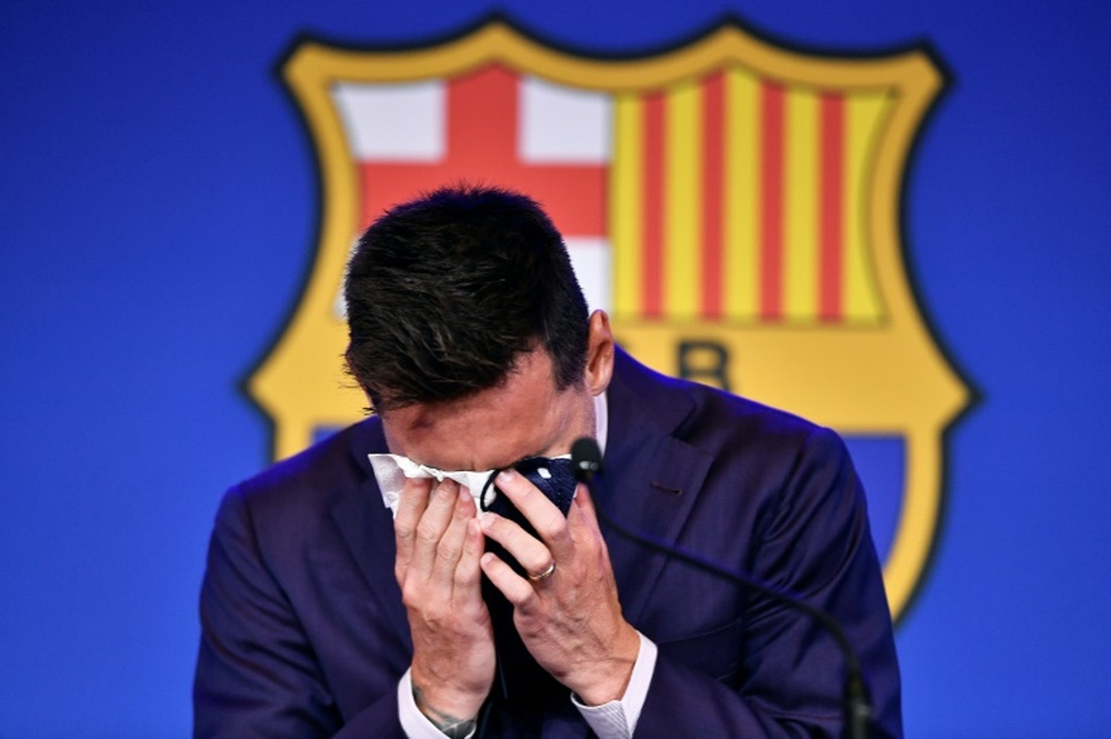 Joan Laporta hoped Lionel Messi would have agreed to play for Barca for free. AFP