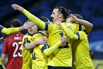 Zlatan Ibrahimovic assisted Sweden's only goal v Georgia. AFP