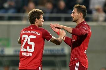 Müller celebrates after scoring Bayern Munichs opening goal at Fuerth on Friday. AFP