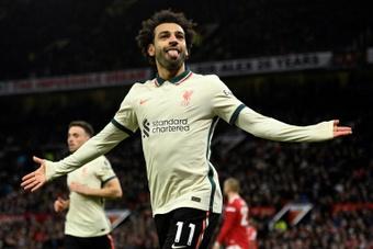 Mohamed Salahs hat-trick against Manchester United. AFP