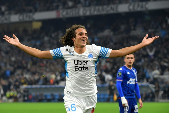 Matteo Guendouzi headed in Marseilles second goal in the win over Lorient. AFP