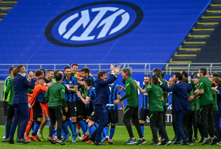 Inter put five past Sampdoria before title celebrations took place. AFP