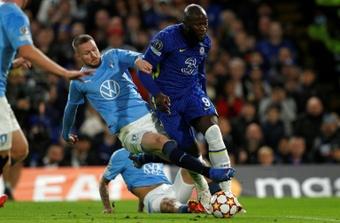 Malmo defender Lasse Nielsen fouls Chelsea striker Romelu Lukaku. AFP