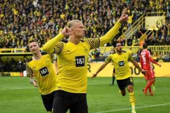 Erling Haaland got two goals as Dortmund beat Mainz in the Bundesliga. AFP