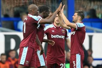West Ham defender Angelo Ogbonna celebrates after scoring at Everton. AFP