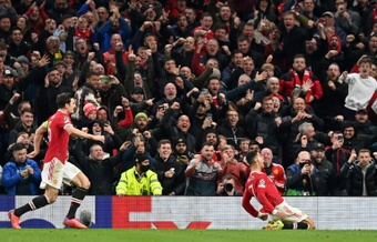 Cristiano Ronaldo (R) was once again the hero for Man Utd. AFP