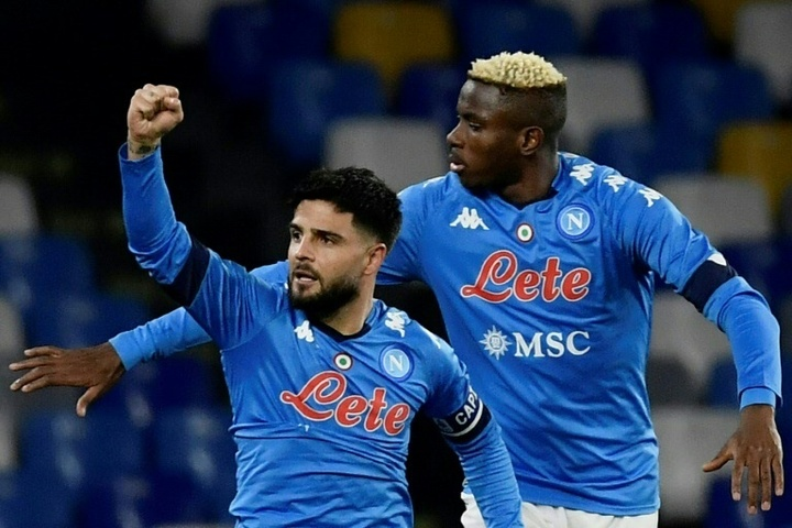 Napoli's Victor Osimhen (R) took his tally up to 10 Serie A goals for the season. AFP