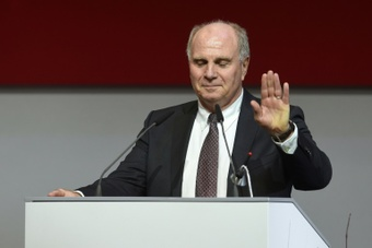 The former and newly elected president of FC Bayern Munich Uli Hoeness speaks prior to his his re-election during the shareholders meeting of the German first division Bundesliga team FC Bayern Munich in Munich, southern Germany, on November 25, 2016