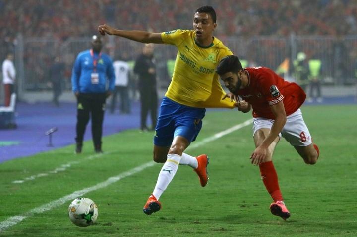 Ricardo Nascimento (L) scored first for Mamelodi Sundowns against Orlando Pirates. AFP