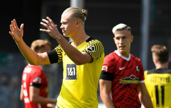 Erling Braut Haaland reacts during their shock 2-1 defeat at Freiburg on Saturday. AFP