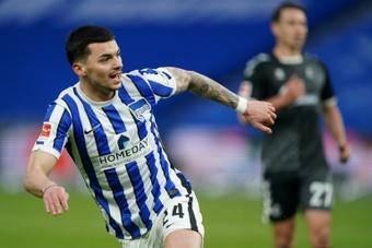 Serbian midfielder Nemanja Radonjic scored Hertha's third of the match. AFP
