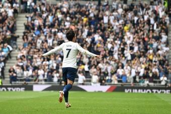 Tottenhams Son Heung-Min celebrates after scoring against Watford. AFP