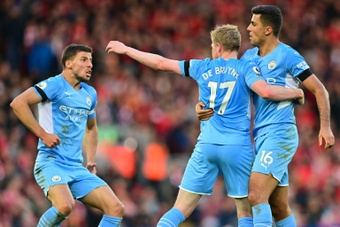 Man City got a late equaliser at Liverpool. AFP