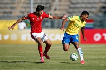 Mohamed Sherif (L) scored as Al Ahly beat Berkane 2-0. AFP