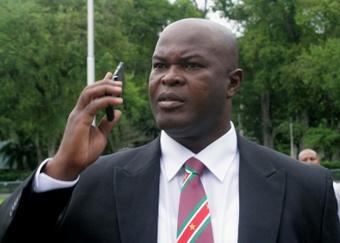 Suriname's vice-president, 60, plays international football match. AFP