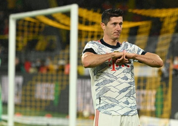 Lewandowski grabbed a brace against his former club. AFP