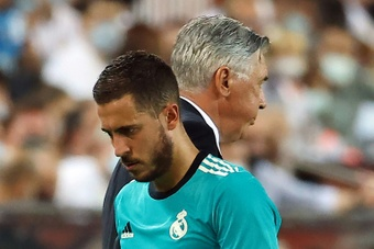 Eden Hazard started and stayed on the bench in the win over Barcelona on Sunday. AFP