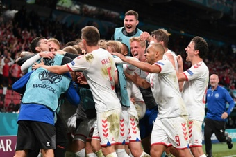 Denmark romped to a famous victory in front of their fans in Copenhagen. AFP