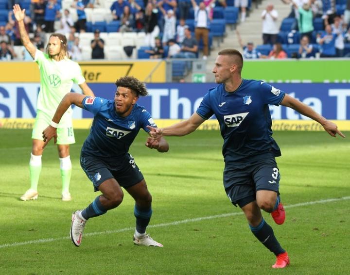 Pavel Kaderabak (R) scored as Hoffenheim defeated Wolfsburg. AFP