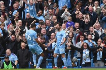 Bernardo Silva scored Manchester Citys first goal against Burnley. AFP