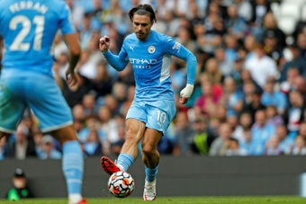 Jack Grealish netted as Man City thumped Norwich 5-0. AFP