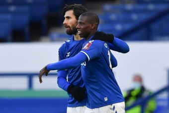 Everton's Doucoure scored the winning goal in extra time. AFP