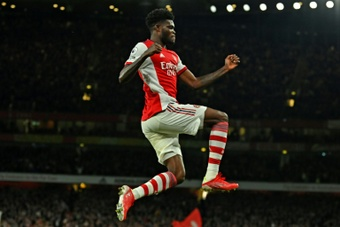 Thomas Partey scored in Arsenal's 3-1 victory over Aston Villa. AFP