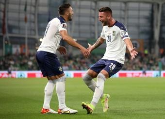 Milinkovic-Savic (R) scored as Serbia were held by Ireland. AFP