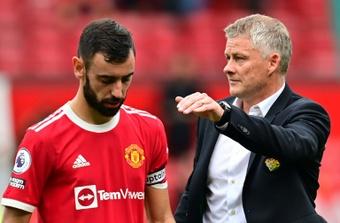 Bruno Fernandes missed a spot kick in Man Utd's loss to Aston Villa. AFP
