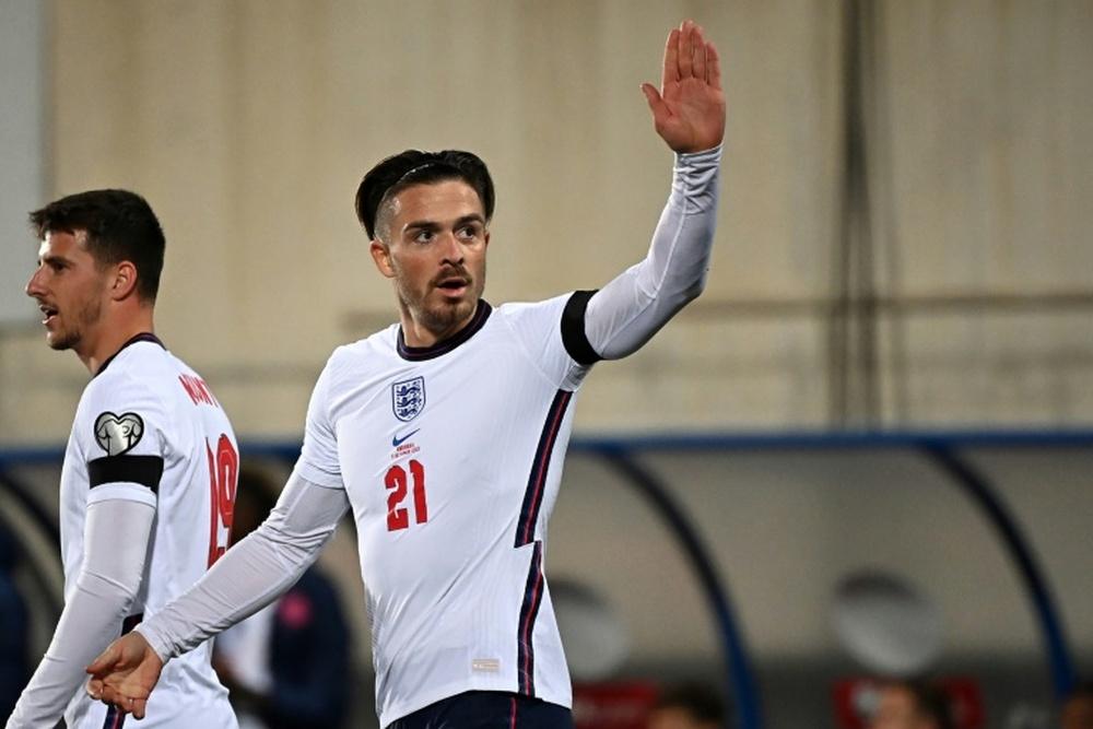 Englands Jack Grealish celebrates after scoring against Andorra. AFP